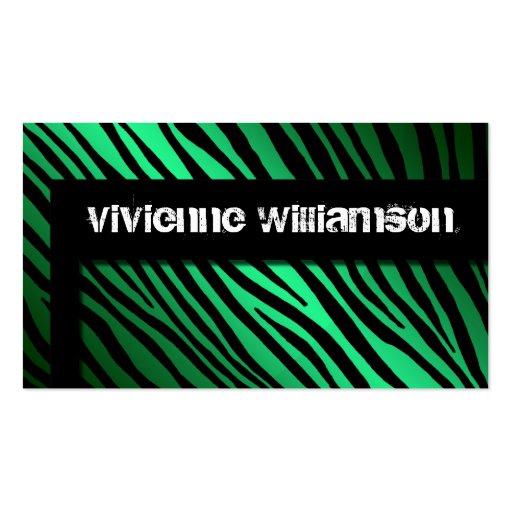 Edgy Urban Green Zebra Designer Business Card Business Card Templates