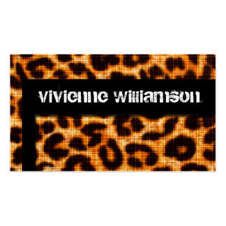 Edgy Urban Halftone Leopard Designer Business Card