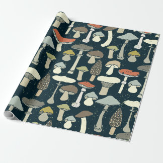 Edible Mushrooms Illustrated Wrapping Paper
