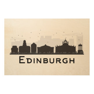 Edinburgh Scotland | Black and White Skyline Wood Print