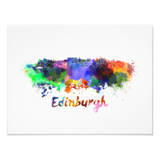 Edinburgh skyline in watercolor photo print