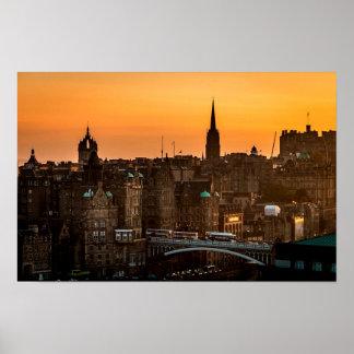 Edinburgh Sundown Skyline Poster