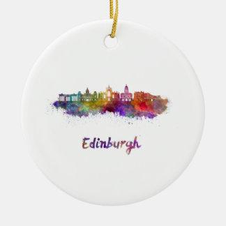Edinburgh V2 skyline in watercolor Ceramic Ornament