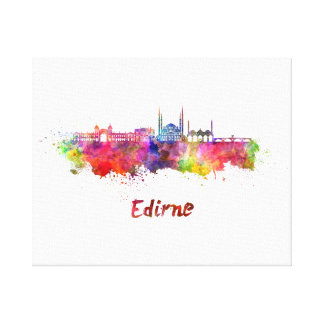 Edirne skyline in watercolor canvas print