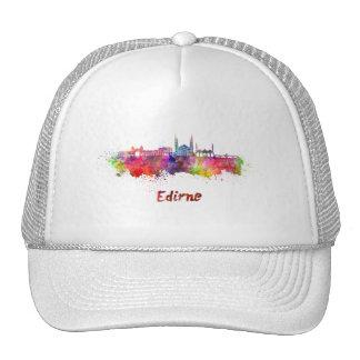 Edirne skyline in watercolor cap