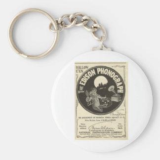 Edison phonograph basic round button key ring