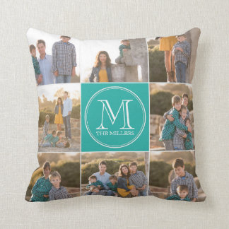 Editable Background Color Custom Monogram Photo Throw Pillow
