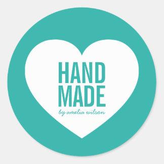 Editable Background Color Handmade Modern Heart Classic Round Sticker