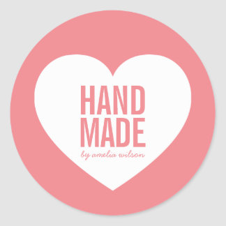 Editable Background Color Modern Heart Handmade Classic Round Sticker