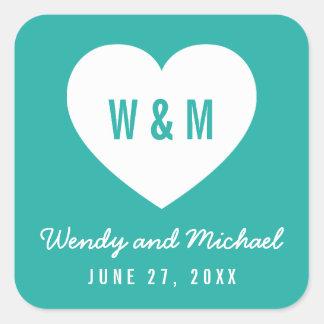 Editable Background Color Monogram Heart Wedding Square Sticker
