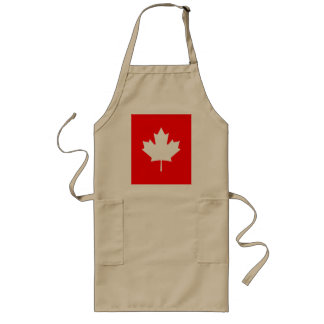 Editable Background Color, White Canada Maple Leaf Long Apron