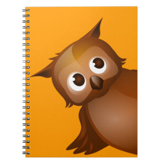 Editable Background - Cute Brown Owl Note Books