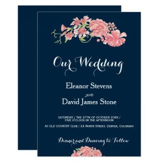 Editable background floral blush peonies wedding card