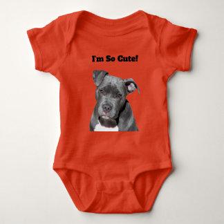 Editable Black Pitbull Baby Bodysuit