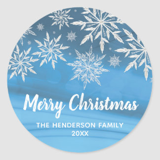 Editable Blue Winter Snowflake Merry Christmas Classic Round Sticker