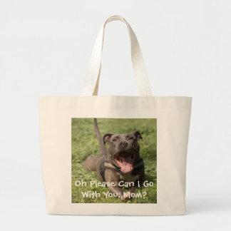 Editable Brown Pitbull In Grass Large Tote Bag