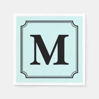 Editable Color Background Ticket Border Monogram Paper Serviettes