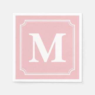 Editable Color Background White Border Monogram Paper Serviettes