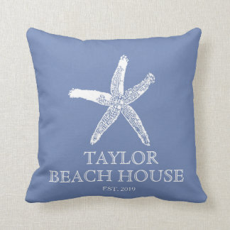 Editable Color Blue Starfish Beach House Pillow