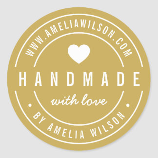 EDITABLE Color Bold Handmade With Love Heart Classic Round Sticker