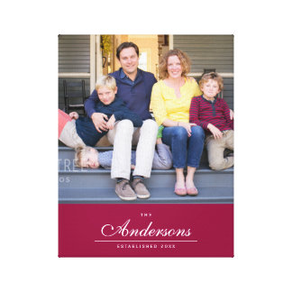 Editable Color Cursive The Family Name Photo Canvas Print
