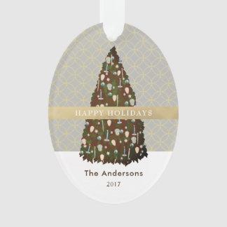 EDITABLE color Gold Christmas Tree Photo Ornament