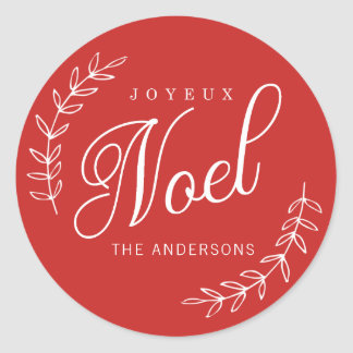 EDITABLE Color Joyeux Noel Christmas Classic Round Sticker