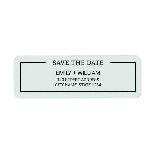 Editable Colour Minimalist Save the Date Return Address Label