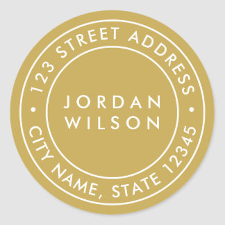 EDITABLE Colour Round Double Border Return Address Classic Round Sticker