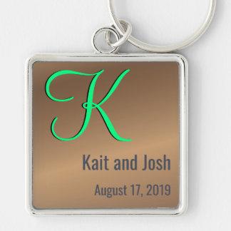 Editable Couples Monogram Trendy Bronze Pecan Key Ring