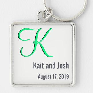 Editable Couples Monogram Trendy Minimalism White Key Ring