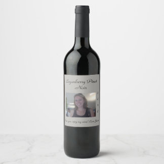 Editable Elegant Gray | Photo | Wine Label