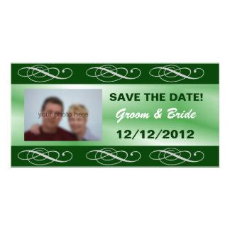 Editable elegant green wedding save the date customised photo card