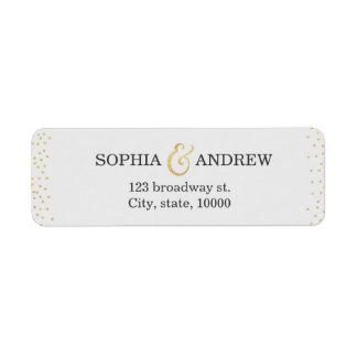 Editable faux gold glitter confetti return address return address label