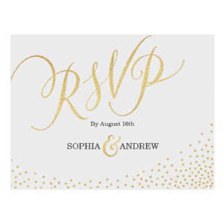 Editable glam faux gold glitter calligraphy RSVP Postcard