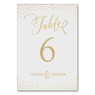 Editable glam faux gold glitter table number table card