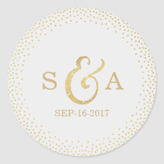 Editable gold glitter vintage wedding monogram classic round sticker