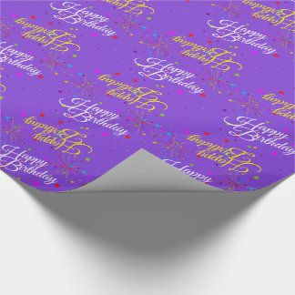Editable Happy Birthday on Violet (or your color) Wrapping Paper