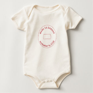 Editable Made in Kansas Stamp of Approval Baby Bodysuit