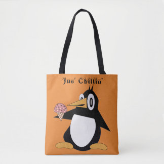 Editable Percius The Penguin With Cone Tote Bag