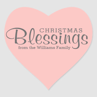 Editable Pink Heart Christmas Blessings Stickers