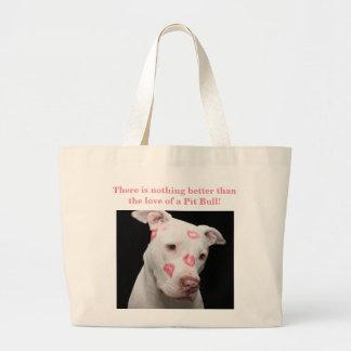 Editable Pitbull Lover Large Tote Bag
