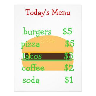 Editable simple burger themed menu custom flyer