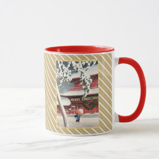 EDITABLE Ukiyo-e Faux Gold Monogram Holiday Mug