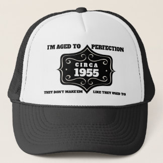 Editable Year Aged Perfection Birthday Trucker Hat