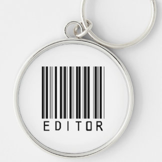Editor Bar Code Silver-Colored Round Key Ring