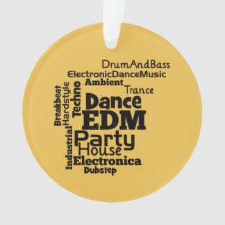 EDM Dance Party Word Cloud Ornament