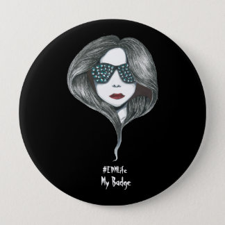 EDM Girl 10 Cm Round Badge
