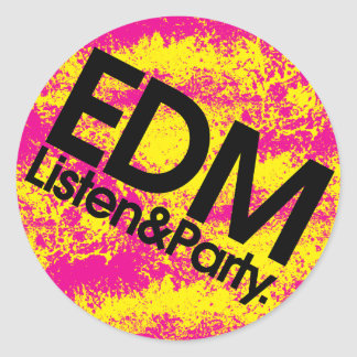 EDM Listen & Party Classic Round Sticker