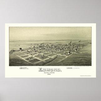 Edmond, OK Panoramic Map - 1891 Poster